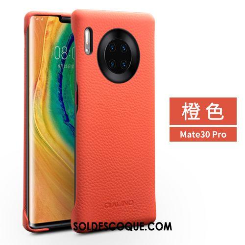 Coque Huawei Mate 30 Pro Étui En Cuir Mode Couvercle Arrière Téléphone Portable Rouge Pas Cher