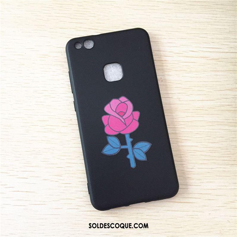 Coque Huawei P10 Lite Jeunesse Noir Délavé En Daim Étui Silicone Pas Cher