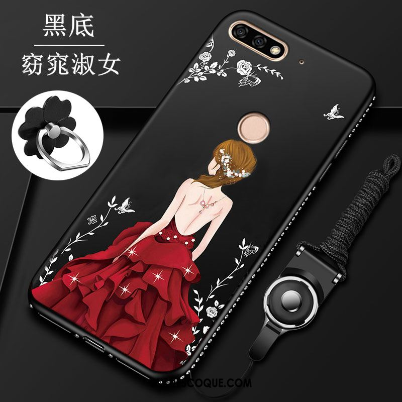 Coque Huawei Y7 2018 Tout Compris Protection Étui Silicone Délavé En Daim Pas Cher