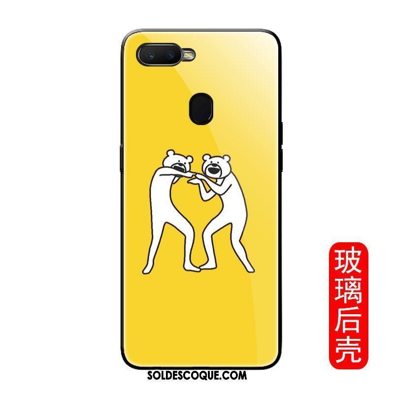 Coque Oppo F9 Animal Verre Jaune Drôle Chat Pas Cher