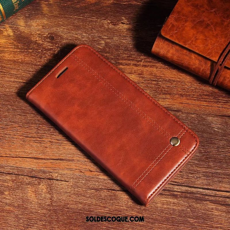 Coque Oppo R15 Pro Protection Carte Cuir Véritable Foncé Étui En Cuir En Vente