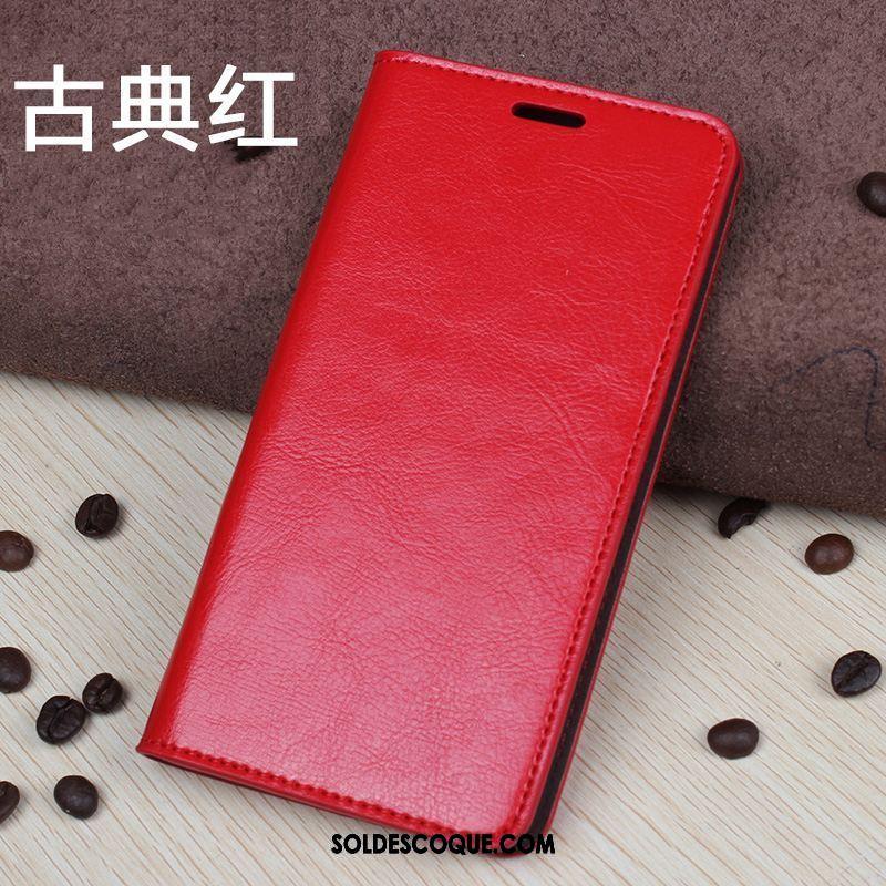 Coque Oppo R17 Pro Incassable Carte Cuir Véritable Rouge Protection Pas Cher
