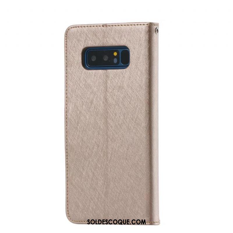 Coque Samsung Galaxy Note 8 Étui En Cuir Étoile Portefeuille Violet Protection Pas Cher