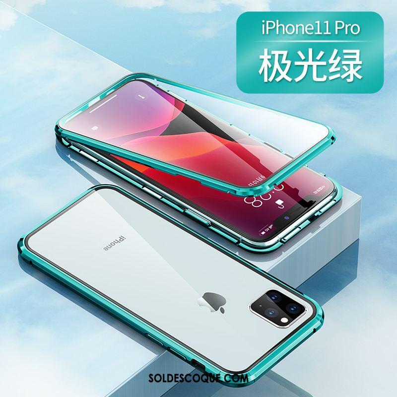 Coque iPhone 11 Pro Incassable Téléphone Portable Magnétisme Transparent Net Rouge Pas Cher