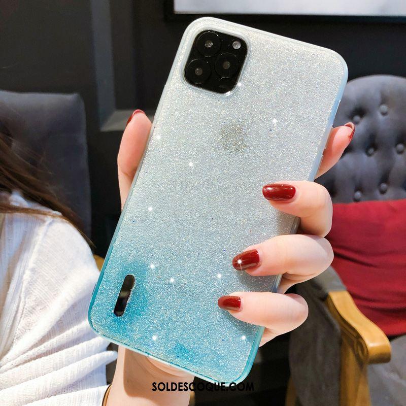 Coque iPhone 11 Pro Max Bleu Tout Compris Strass Téléphone Portable Luxe Soldes