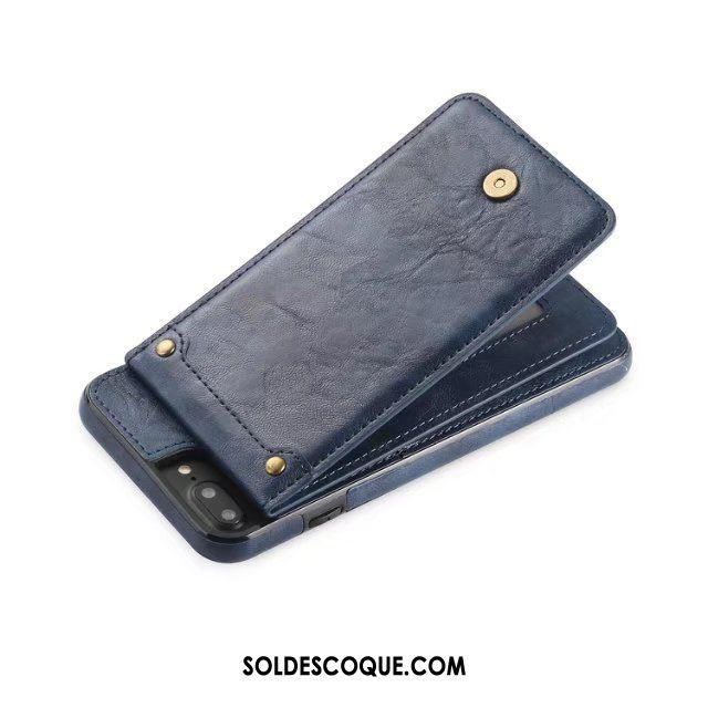 Coque iPhone 7 Plus Détachable Étui En Cuir Sac Carte Gris Téléphone Portable Housse En Ligne