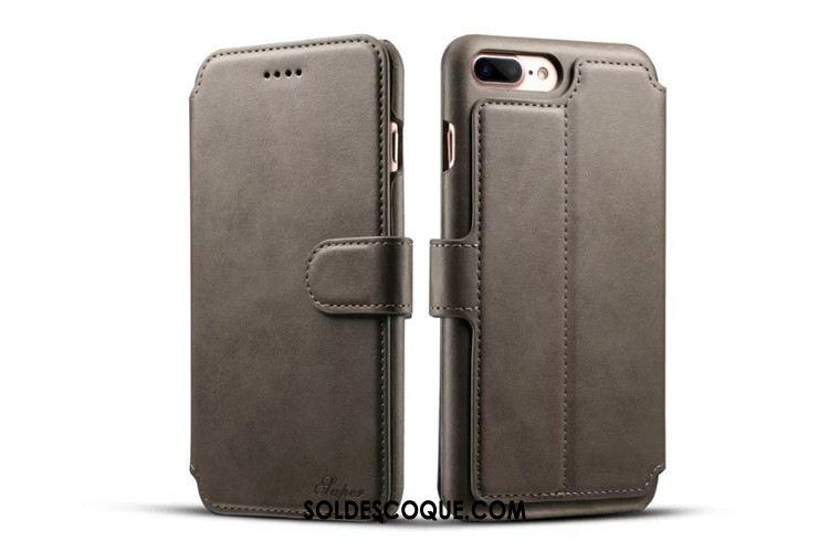 Coque iPhone 8 Plus Étui En Cuir Cuir Véritable Téléphone Portable Carte Protection En Ligne