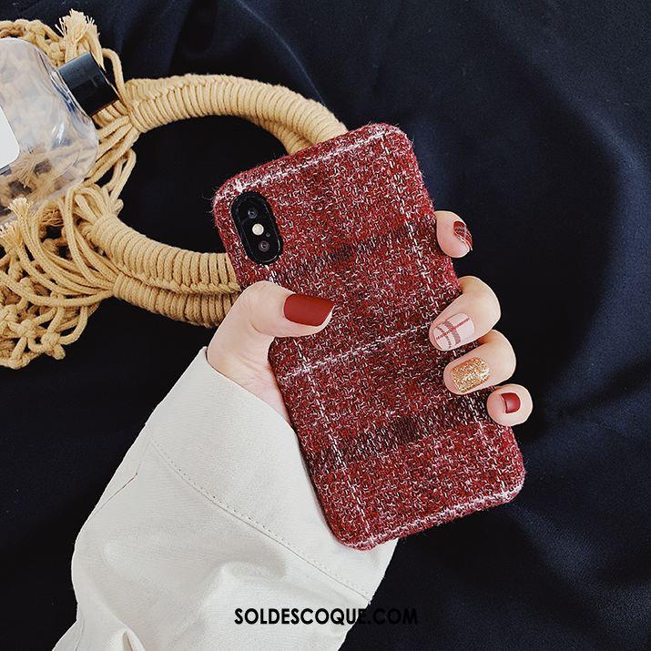 Coque iPhone Xs Max Personnalité Silicone Tissu Plaid Tout Compris Soldes