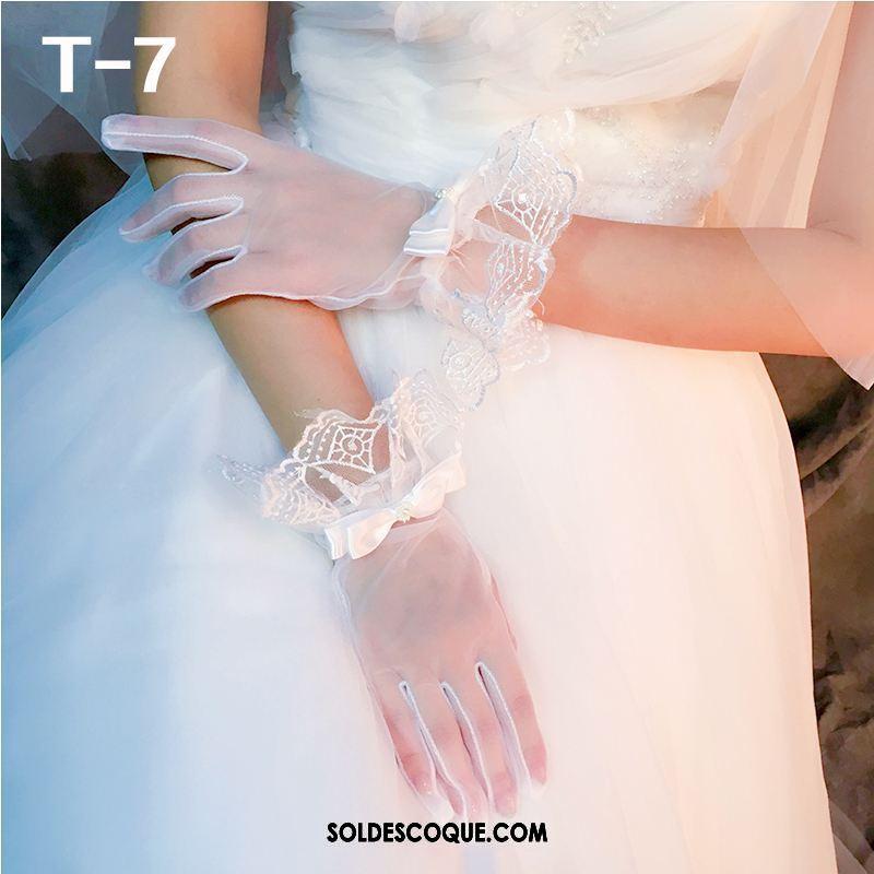 Gant Femme Blanc Été La Mariée Robe Le Nouveau Pas Cher