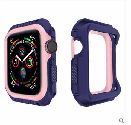 Coque Apple Watch Series 1 Incassable Protection Border Silicone Bleu Soldes