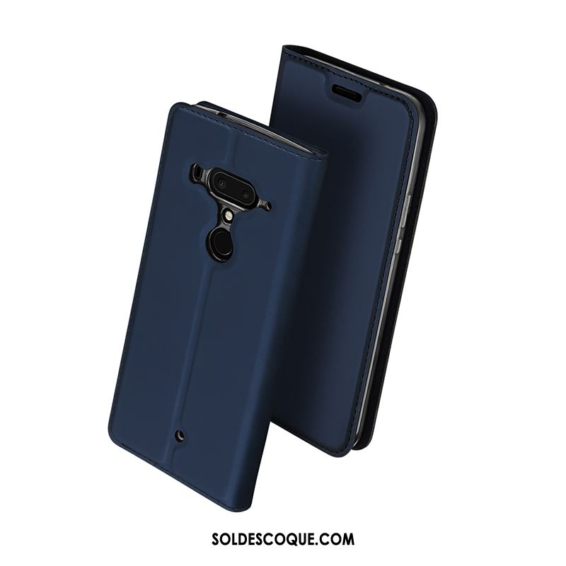 Coque Htc U12+ Protection Carte Incassable Étui En Cuir Bleu En Vente