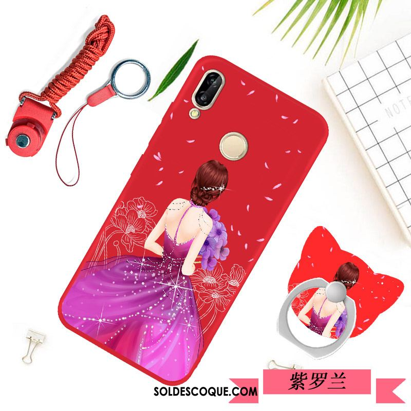 Coque Huawei P Smart+ Rouge Fluide Doux Silicone Protection Simple Soldes