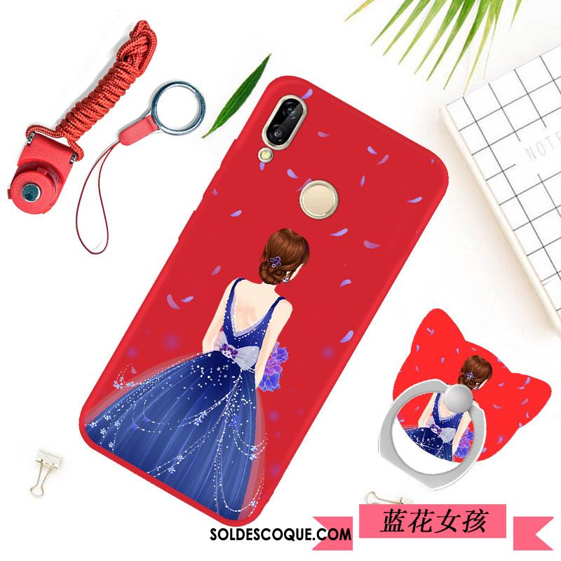 Coque Huawei P20 Lite Protection Rouge Silicone Ornements Suspendus Simple En Vente