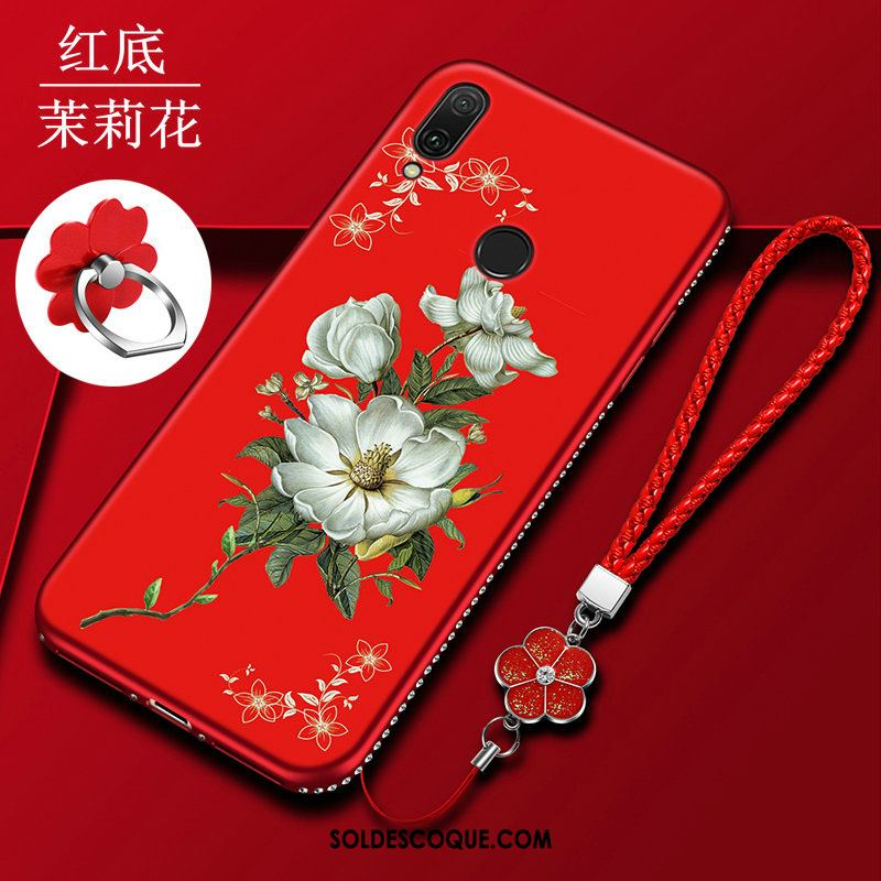Coque Huawei Y7 2019 Incruster Strass Silicone Créatif Rouge Téléphone Portable Pas Cher