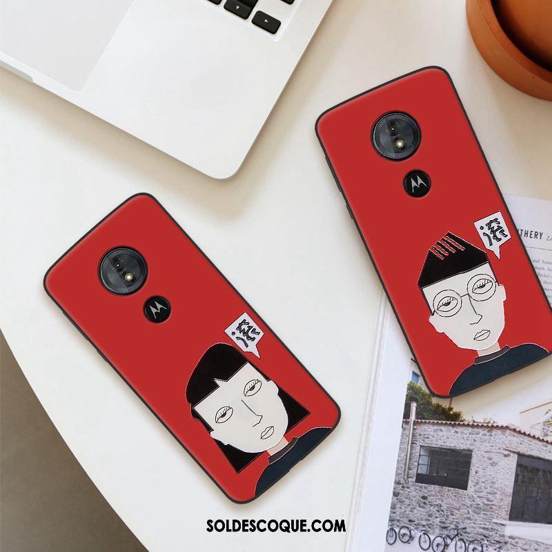 Coque Moto G6 Play Rouge Incassable Gaufrage Personnalité Fluide Doux Pas Cher