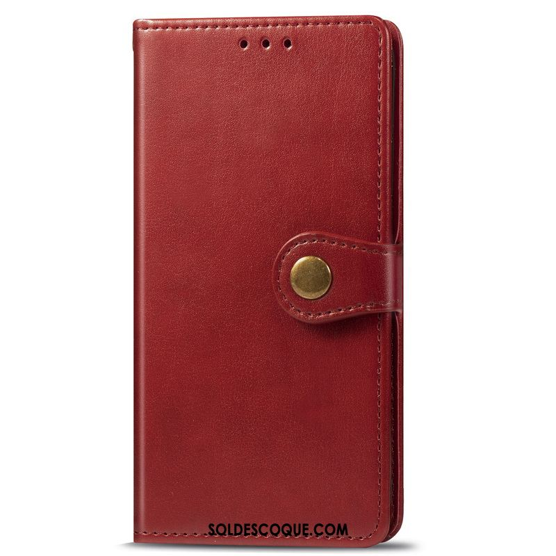 Coque Moto G8 Plus Business Similicuir Ornements Suspendus Étui En Cuir Rouge France