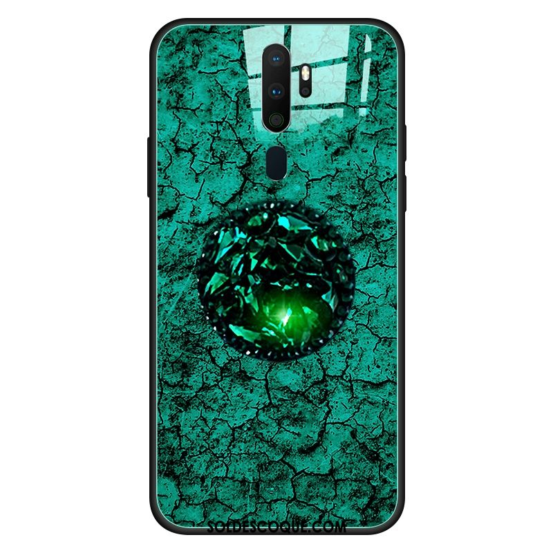 Coque Oppo A5 2020 Verre Étui Nouveau Vert Téléphone Portable Pas Cher