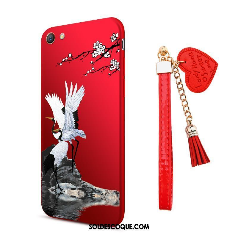 Coque Oppo A83 Protection Incassable Rouge Étui Ornements Suspendus En Vente