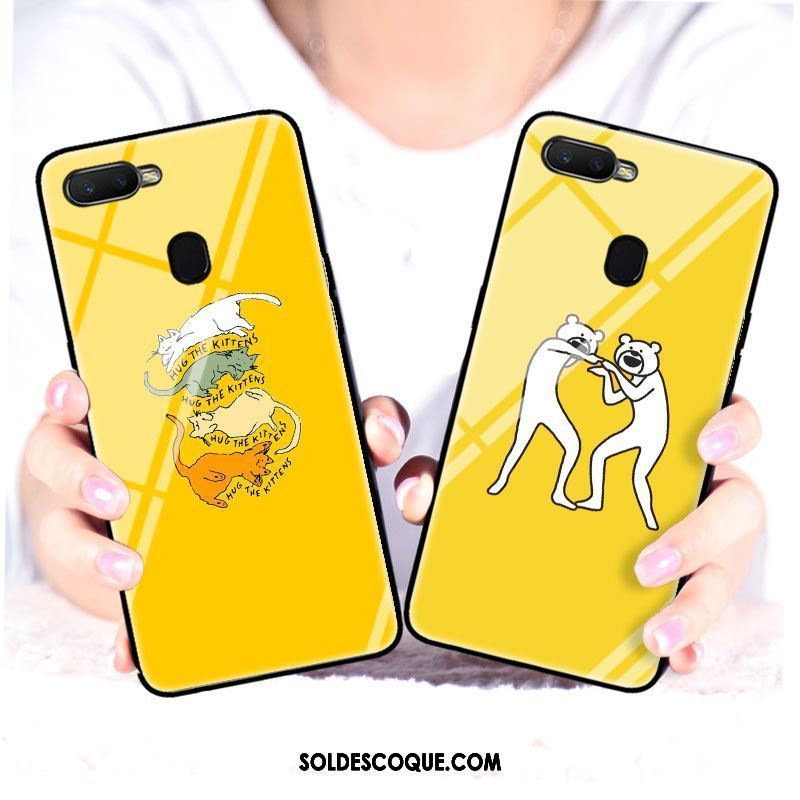 Coque Oppo F9 Animal Verre Jaune Drôle Chat Pas Cher