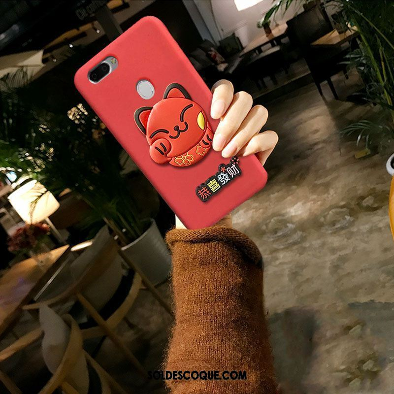 Coque Oppo F9 Fluide Doux Chat Style Chinois Silicone Rouge Pas Cher