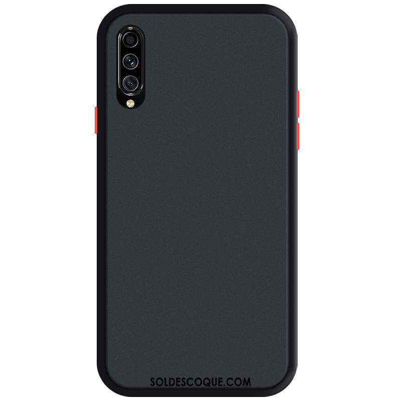 Coque Samsung Galaxy A70s Noir Tendance Simple Délavé En Daim Transparent Housse France
