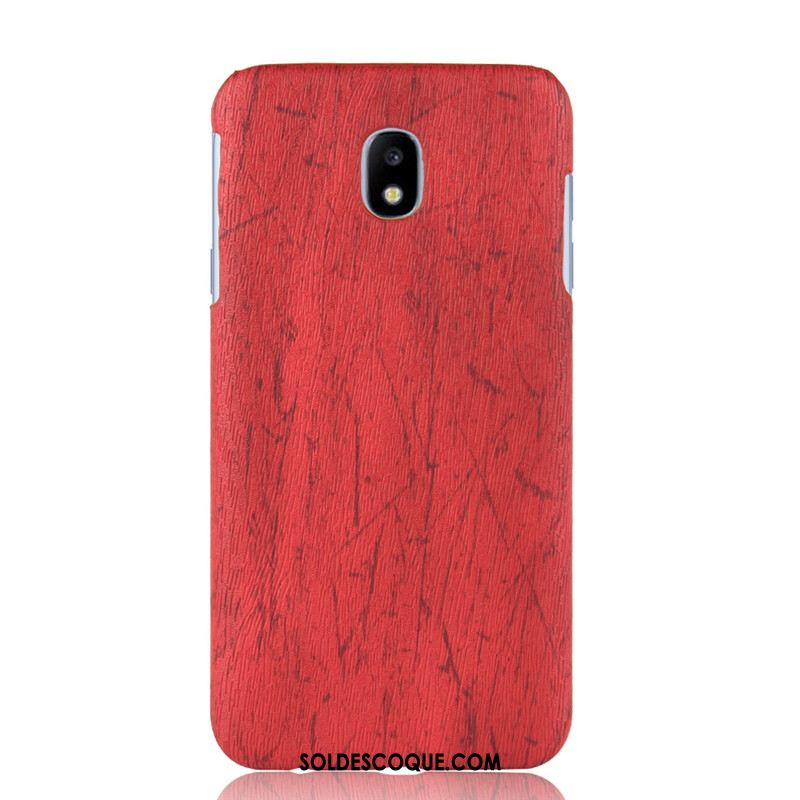 Coque Samsung Galaxy J7 2017 Protection Rouge Grain De Bois Difficile Créatif France