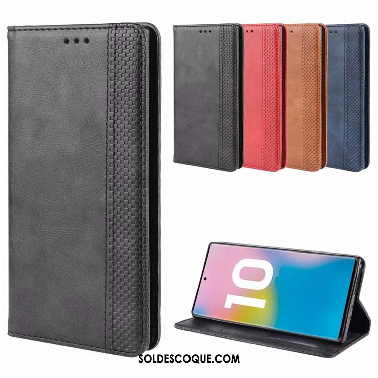 Coque Samsung Galaxy Note 10+ Noir Business Vintage Protection Incassable Pas Cher