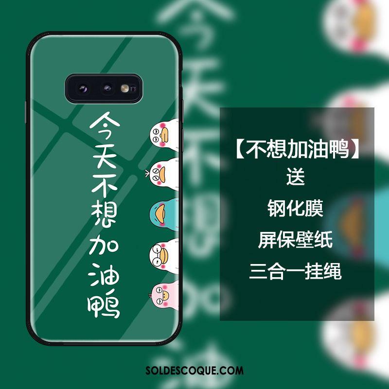 Coque Samsung Galaxy S10e Dessin Animé Téléphone Portable Vert Canard Personnalité Soldes