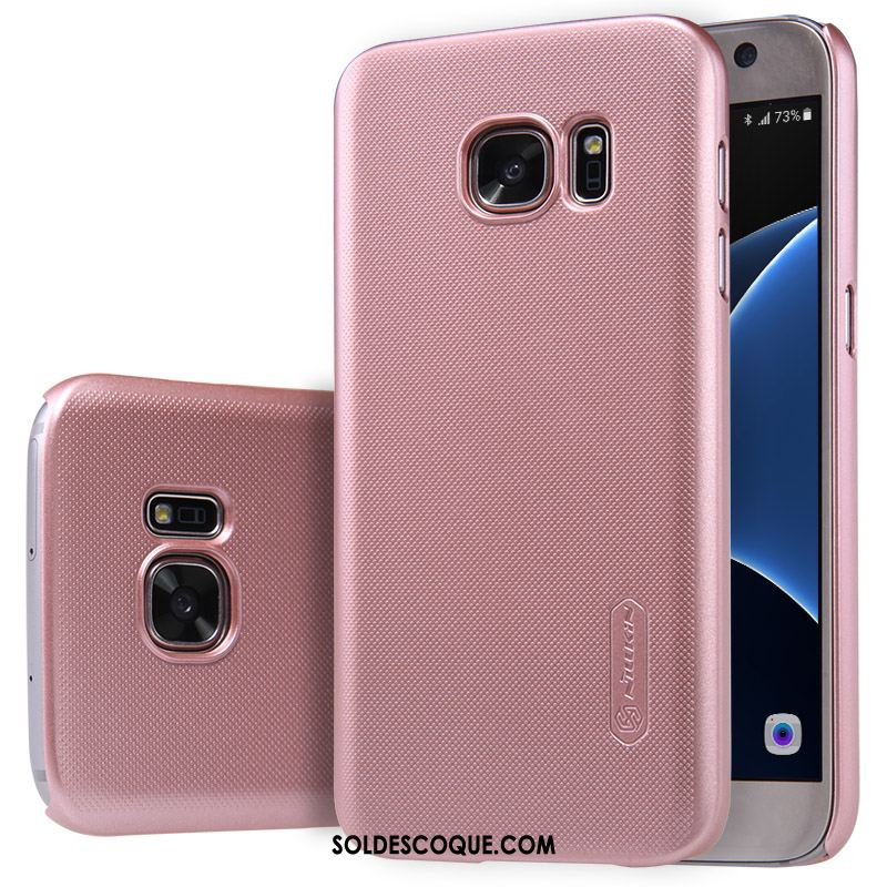 Coque Samsung Galaxy S7 Rose Difficile Protection Or Délavé En Daim En Vente