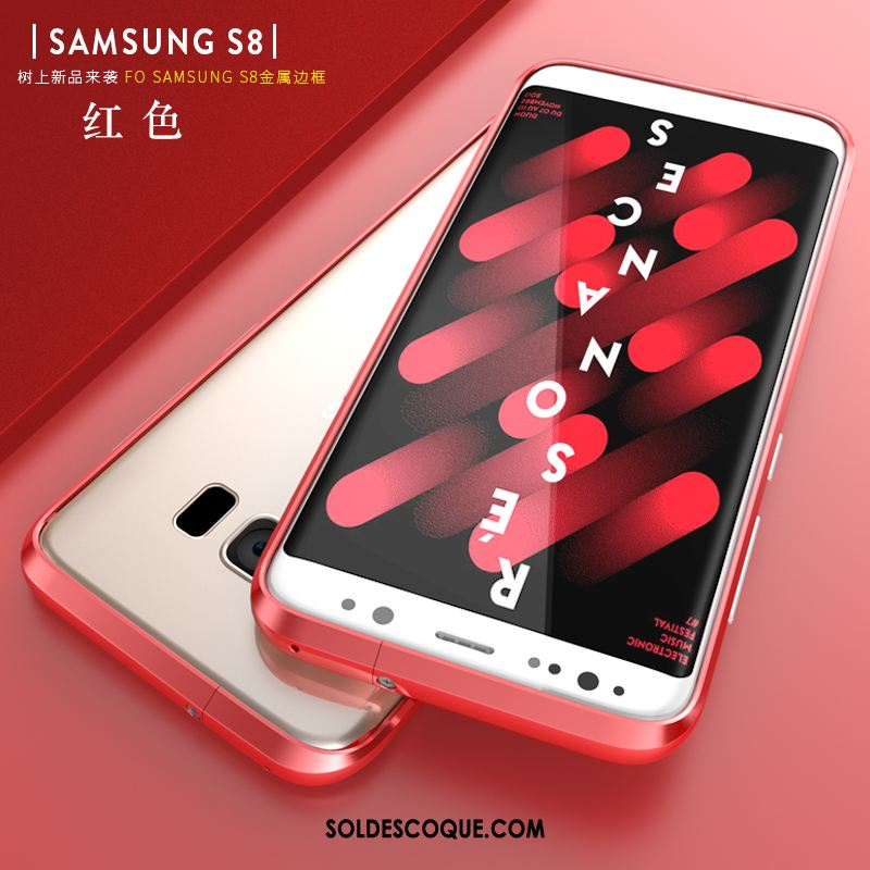 Coque Samsung Galaxy S8 Difficile Étui Métal Rouge Protection Housse France