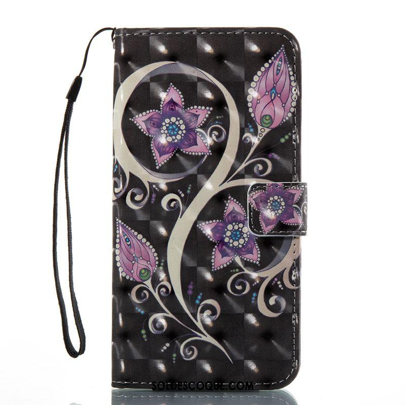 Coque iPhone 8 Plus Étui En Cuir Paon Peinture Protection Noir Soldes
