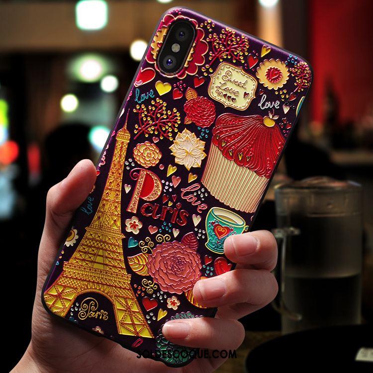 Coque iPhone Xs Max Délavé En Daim Dessin Animé Créatif Nouveau Marque De Tendance Housse En Ligne
